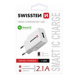 Tīkla lādētājs USB 2.1A 10.5W balts Premium SWISSTEN