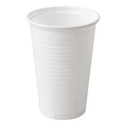 Glāzes 200ml baltas 100gab. (0.28kg.) PP
