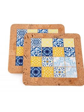 Base avec carrelage bleu / jaune (2 uni)