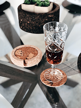 Red Marble Round Cup Base