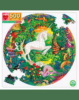 Puzzle redondo Unicorn Garden 500 piezas