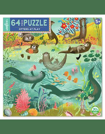 Puzzle infantil Otters at Play 64 piezas