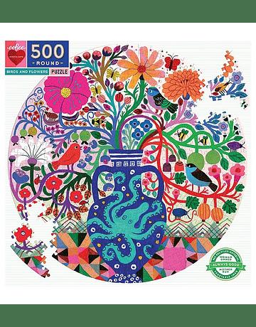 Puzzle redondo Birds and Flowers 500 piezas