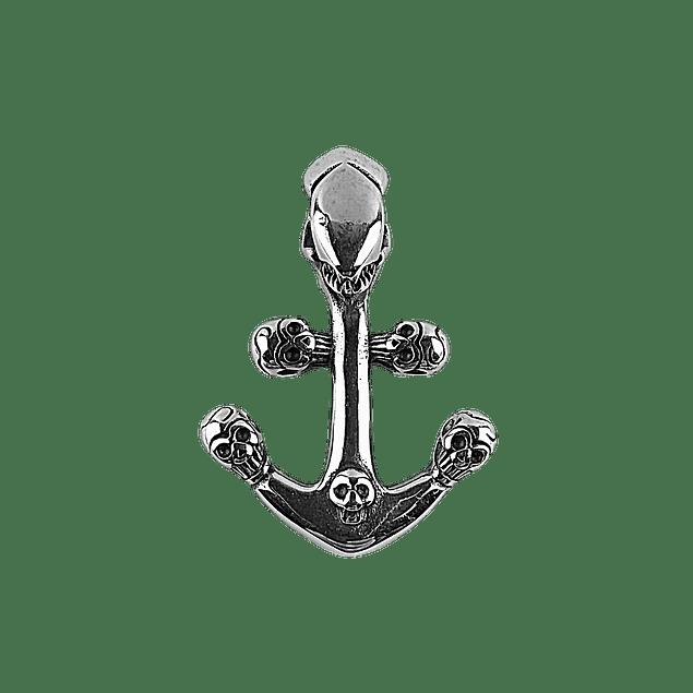 Colgante Anchor Skull Plateado