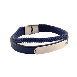 Pulsera Doble Cuero Azul Placa Central