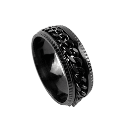 Anillo Spinner Cadena Color Negro