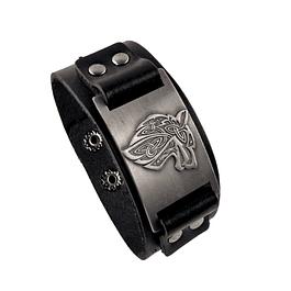 Pulsera Vikinga Cuero Negro Lobo Gris