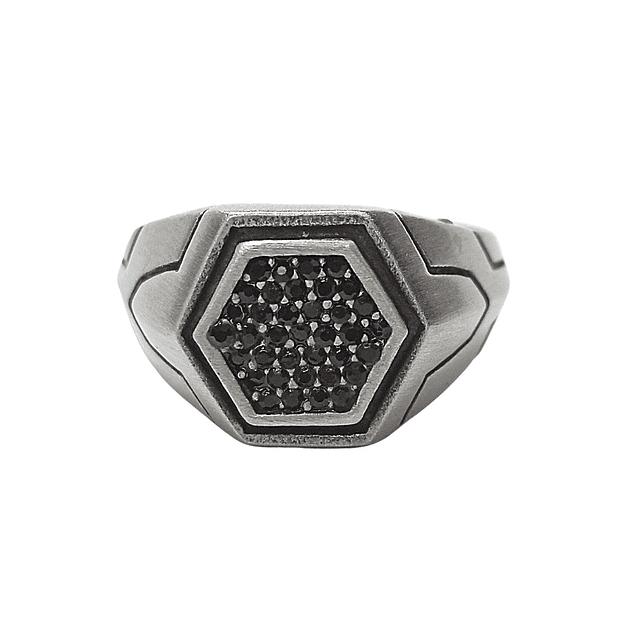 Anillo Hexagono Micropavé