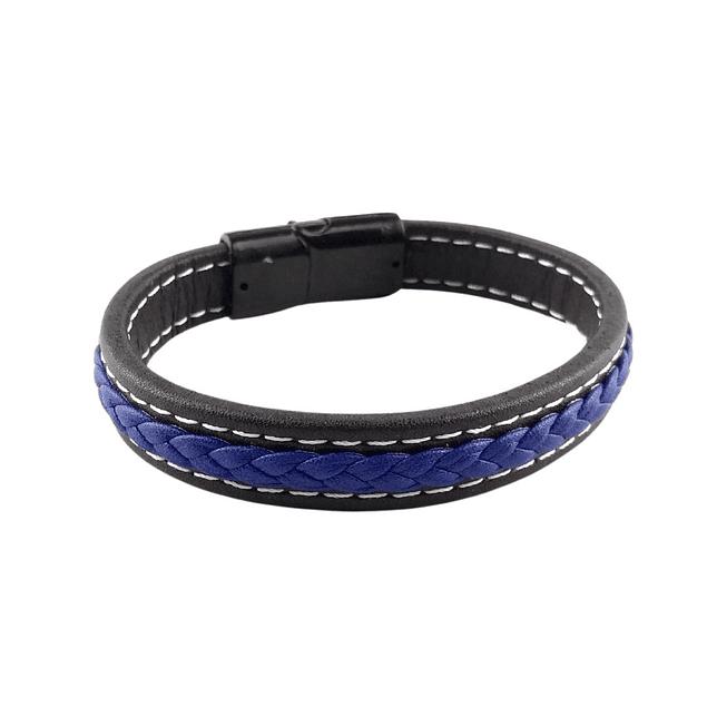 Pulsera Cuero Negro Trenza Central Azul