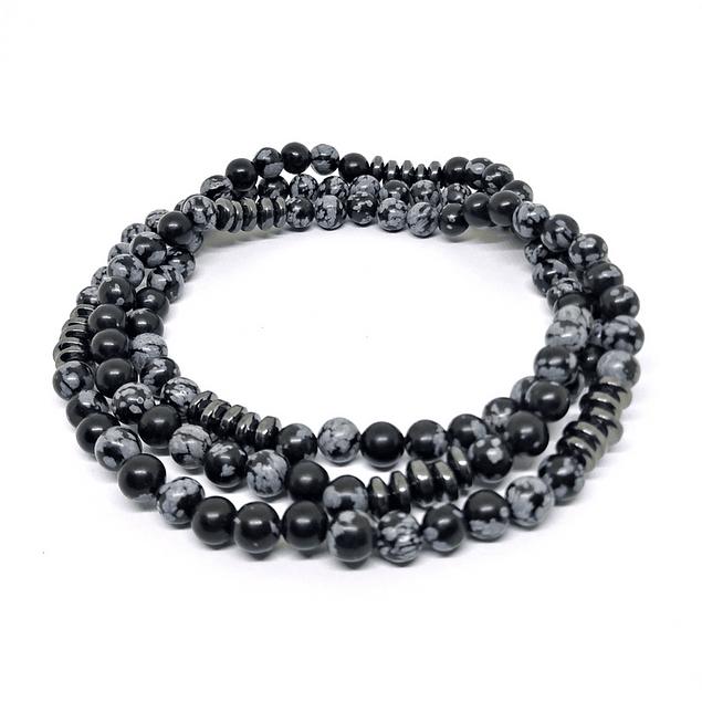 Collar Obsidiana Nevada y Hematitas
