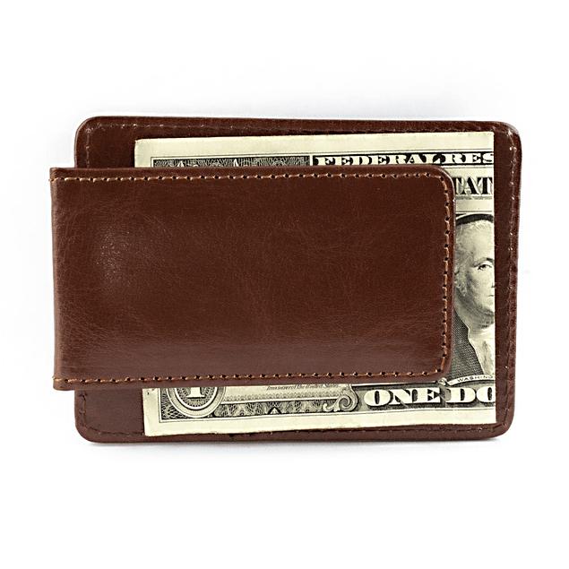 Clip Wallet Cuero Color Café