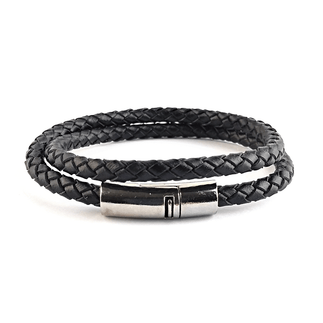 Pulsera Doble Cuero Redondo Negro, The Wiser