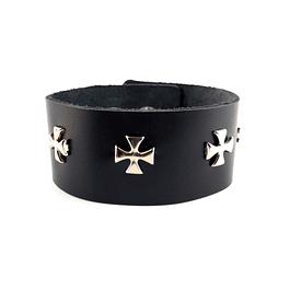 Brazalete Cuero Ironcross, Color Negro