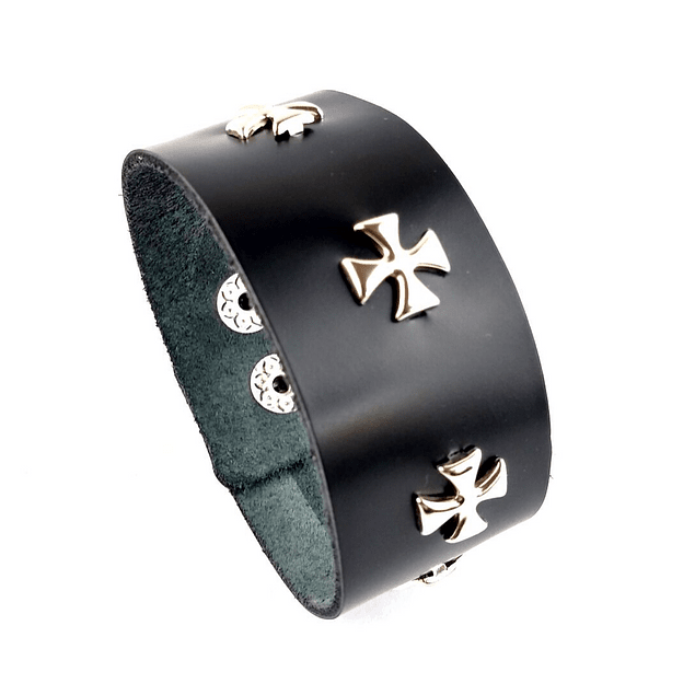 Brazalete Cuero Ironcross, Color Negro