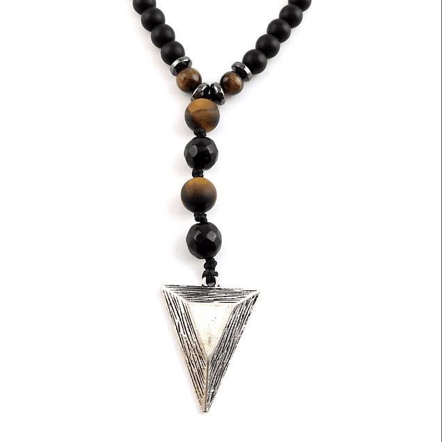 Collar Turmalina Ojo de Tigre Diseño Punta Triángulo