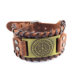 Pulsera Cuero Color Cafe Placa Vegvisir