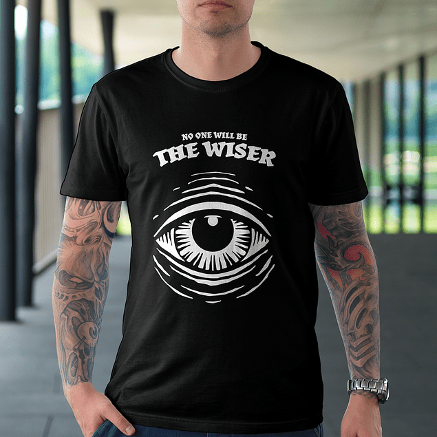 Polera Negra The Wiser Ojo Color Blanco