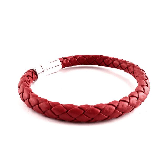 Pulsera Simple Ecocuero Color Rojo