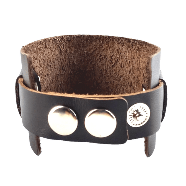 Pulsera Cuero Cafe Remache Ajustable