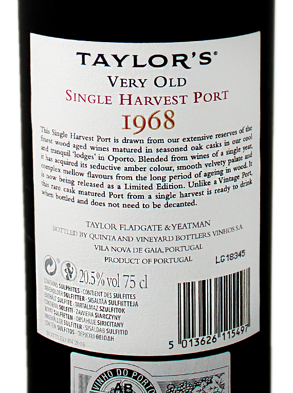 Taylor's Single Harvest 1968