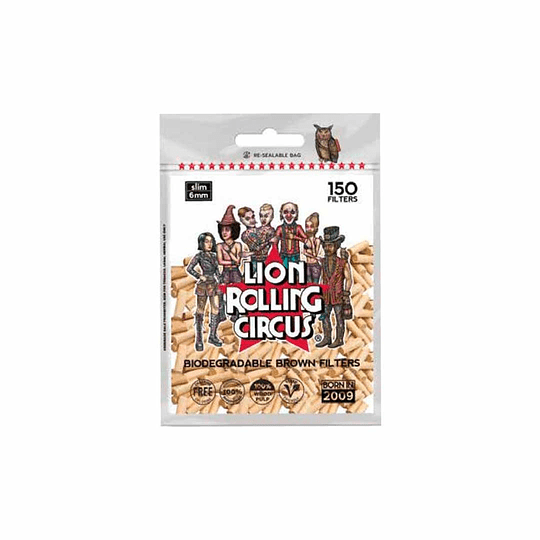 Lion Rolling Circus Filtros Brown Biodegradables (150 Filtros)
