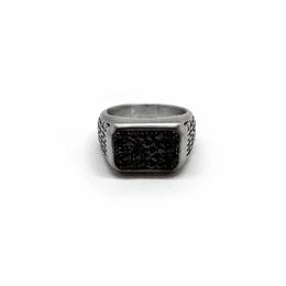 Anillo Acero Cristal Negro