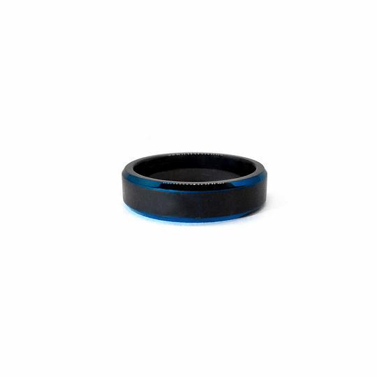 Anillo Acero Negro/Azul