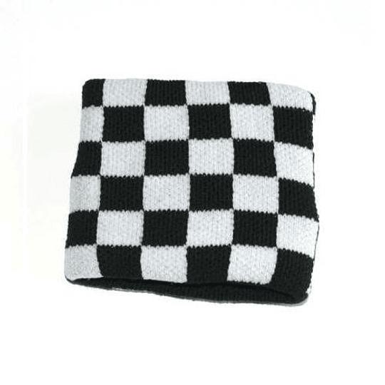 Muñequera Elasticada - Cuadros Blanco y Negro
