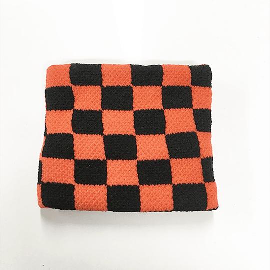 Muñequera Elasticada - Cuadros Rojo y Negro