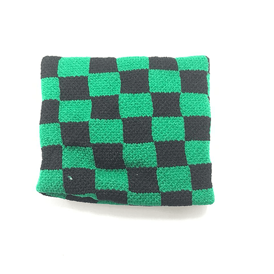 Muñequera Elasticada - Cuadros Verde y Negro