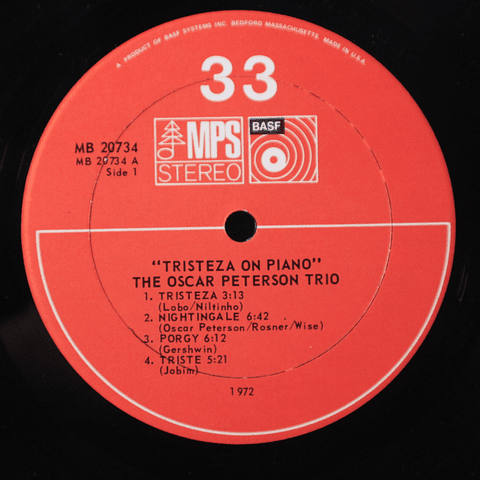 Oscar Peterson Trio ‎– Tristeza On Piano