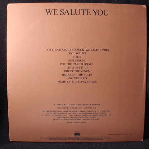 AC/DC – For Those About To Rock (We Salute You) (1a Ed USA)