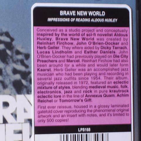 Brave New World – Impressions On Reading Aldous Huxley (reed. limitada 500 copias)