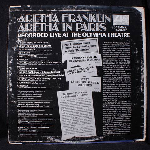 Aretha Franklin ‎– Aretha In Paris (1a Ed USA)