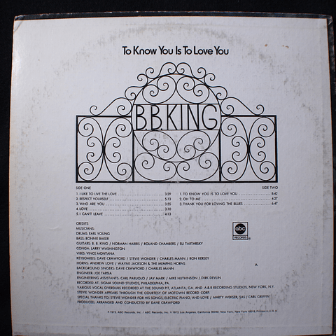 B.B. King – To Know You Is To Love You