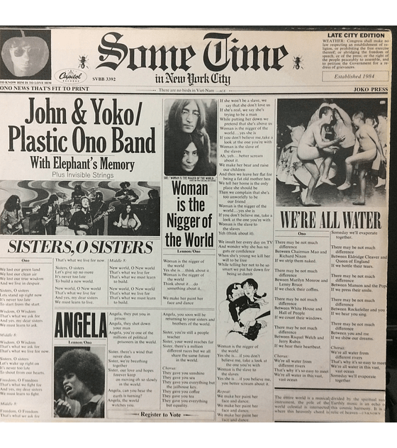 John Lennon & Yoko* / Plastic Ono Band* With Elephant's Memory* Plus Invisible Strings ‎– Some Time In New York City (Beatles)