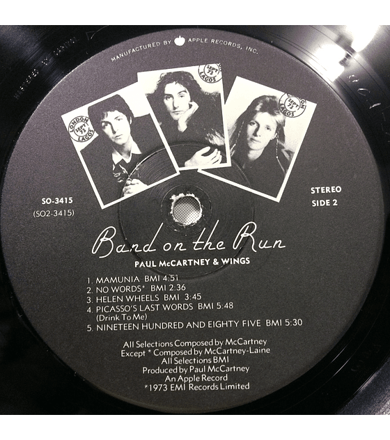 Paul McCartney Wings (Beatles) ‎– Band On The Run (1a ED USA)