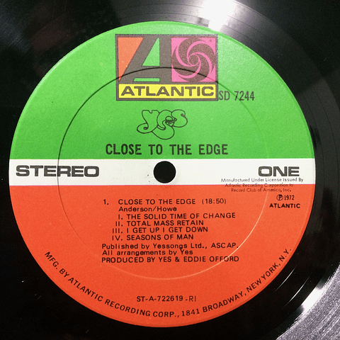 Yes ‎– Close To The Edge (1a ED USA)