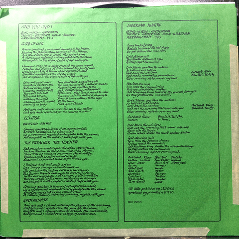 Yes – Close To The Edge (1a ED USA)