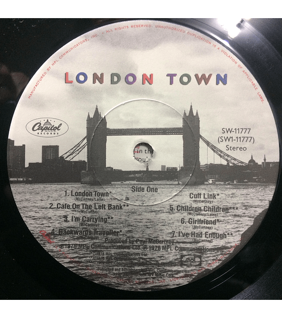 Paul McCartney Wings ‎– London Town (Beatles) (1a ED USA)
