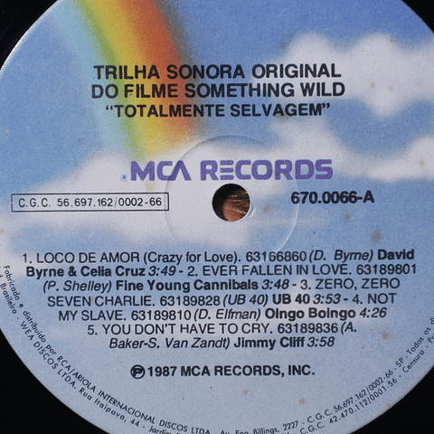 Various – Something Wild - Music From The Motion Picture Soundtrack (David Byrne, New Order, otrs0