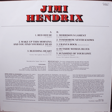 Jimi Hendrix with Jim Morrison, Johnny Winter – Woke Up This Morning And Found Myself Dead