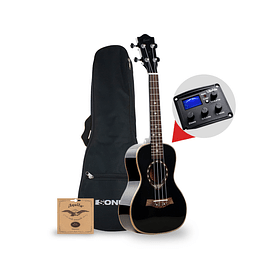 Ukelele Kauai Black Tenor EQ