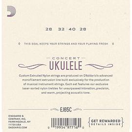 Cuerdas para Ukelele Concierto clear nylon D'ADDARIO