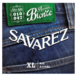 Encordado metálica Savarez A130xl Bronze Extra Light 10/47