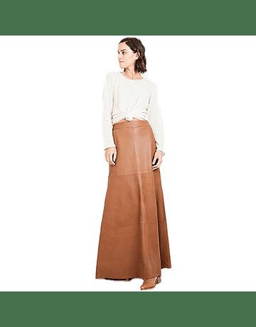 Falda cuero larga camel