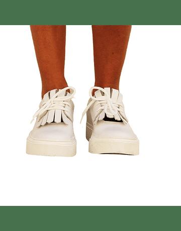 zapatilla cuero lisa blanca