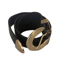 Cinturón de cuero hebilla redonda lisa