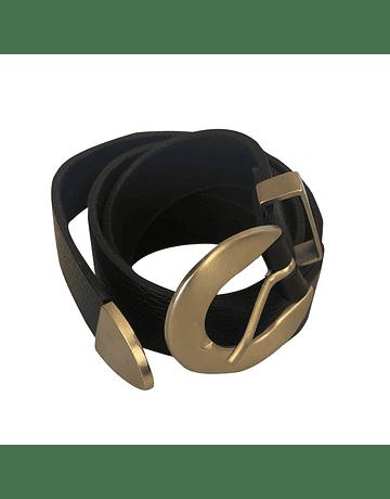 Cinturón de cuero hebilla redonda lisa plateada