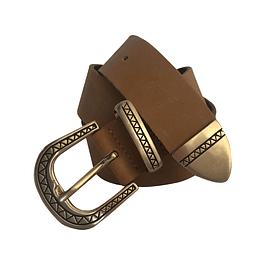Cinturón de cuero camel hebilla redonda con diseño